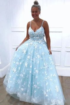 Charming Light Blue Appliques Tulle Long Prom Dress with Straps by sweetdressy, $180.00 USD Straps Prom Dresses, A Line Prom Dresses, Cheap Prom Dresses, Evening Dresses, Blue Dresses, Party Dresses, Prom Gowns, Quinceanera Dresses, Dresser