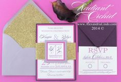 Radiant Orchid Wedding Invitation by AlexandriaLindo on Etsy, $6.50