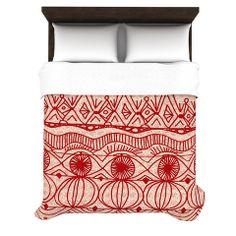 "Catherine Holcombe ""Cranberry and Cream"" Pattern Fleece Duvet Cover | KESS InHouse"