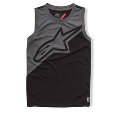 This polyester athletic tank top has a regular fit with contrast piecing and self applique featuring mock mesh.
