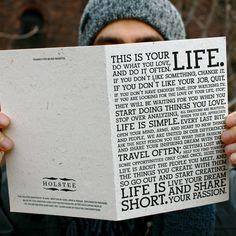 $20 Holstee Greeting Card    Share the manifesto :)