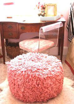 Wonderfully shaggy pink foot stool!  Wonder if I can make this?