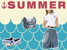 ralph lauren polo shirt and shoes, nts denim skirt, guess bag