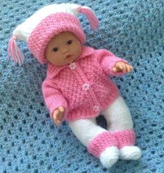 PINK HAND KNIT SET FOR 13 OR 14 INCH BABY DOLLS Knitting Dolls Clothes, Baby Doll Clothes, Crochet Baby Clothes, Doll Clothes Patterns, Doll Patterns, Baby Girl Patterns, Baby Knitting Patterns, Knitted Girl Doll, Tiny Tears Doll