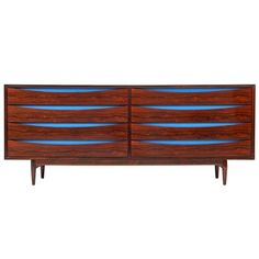 Scandinavian exotic rosewood eight drawer double chest with ellipse shaped finger reveals accented by royal blue lacquered panels. Designed by Arne Vodder for Sibast Mobler. Danish, circa Literature: George Tanier, Inc. Mcm Furniture, Sideboard Furniture, Painted Furniture, Furniture Storage, Furniture Ideas, Style Deco, Modern Dresser, Upcycled Vintage, Retro Vintage