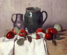 Felix Vallotton (Swiss, worked in France, 1865-1925): Still life with Jug and Apples
