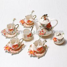 Source hot selling franz coffee set with pretty pattern on m.alibaba.com Tea Cup Set, Tea Sets, Pretty Patterns, Coffee Set, Chen, Modeling, Porcelain, Miniatures, Image