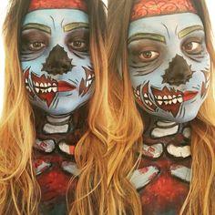 Zombie Pop Art Halloween Makeup! #halloween #zombie #cartoon#popart #makeup #creepy