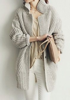 Grey Oversized Knit Coat