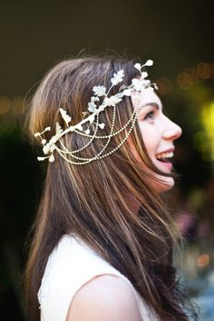 Hair Jewelry Acessories i love her headband! very cute, and probably lighter than a veil, but perhaps wouldn't go with the style of dress you're leaning towards - french summer garden wedding Fascinator, Hair Design For Wedding, Bohemian Girls, Boho Headband, Bohemian Headpiece, Jeweled Headband, Flower Headbands, Circlet, Bridal Headpieces