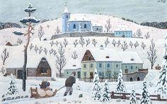 Vesnice z Posázaví v zimě, 1945 Primitive Painting, Winter's Tale, Illustration Art, Illustrations, Art Boards, Folk Art, Fairy Tales, The Past, Calendar
