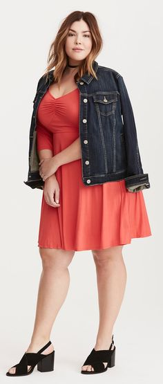 Plus Size Jersey Knit Sweetheart Skater Dress