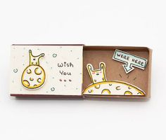Quirky Matchbox Greeting Cards Open to Reveal Cute Illustrated Messages - My Modern Met