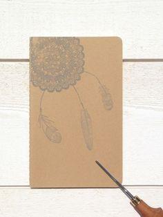 "Carnet MOLESKINE ""dreamcatcher"" papeterie, boho, tampon, illustration, plumes, notebook"