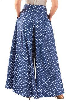 1930s Polka dot print pleated palazzo pants beach pajamas high waist wide leg $67.95 AT vintagedancer.com