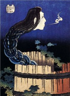 A woman ghost appeared from a well - Katsushika Hokusai