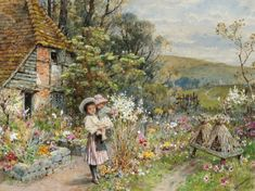 William Stephen Coleman was a British painter and book illustrator. An Interesting Story Children Playing on a Path . Pintura Exterior, English Country Cottages, Cottage Art, Cottage Ideas, Historical Art, Flower Fashion, Garden Art, Garden Painting, Art For Kids
