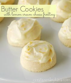 Butter Cookies with Lemon Cream Cheese Frosting ~ These cookies just melt in your mouth, and the frosting is to die for!