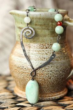 Green Aventurine, Agate, Copper Wire, Copper Chain, Red/Orange, Wire Wrapped, Handmade, Hammered, Oxidized, Ooak