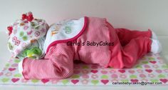 Sleeping Baby Diaper Cake - girl Little one on the the to NY!