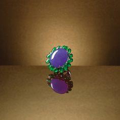IMPRESSIVE LAVENDER JADEITE, JADEITE AND DIAMOND RING