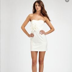 mark + james by bradley mischka flower dress mark and james by bradley mischka crinkle  ivory flower strapless dress gorgeous dress only worn once. is not a stark white or creamy ivory almost looks a grayish/ivory bradley mischka Dresses Mini