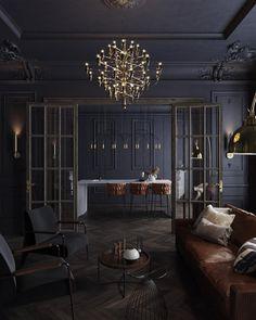 Loft Design, Home Room Design, Dream Home Design, Modern House Design, Lounge Design, Design Art, Design Ideas, Black Interior Design, Classic Interior