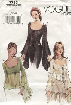 FREE US SHIP Vogue 7733 Out Of Print Stunning Renaissance Medieval Blouse Top Draped Trumpet Sleeves Sewing Pattern Size  8 20 22 by LanetzLivingPatterns on Etsy
