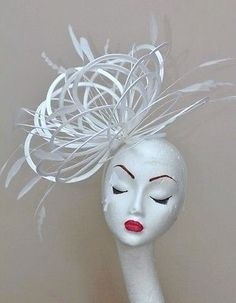 NEW White Fascinate Wedding Fascinator hat choose any colour satin/feathers