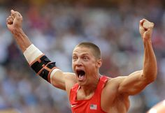United States' Trey Hardee reacts after his javelin throw in the men's decathlon. Hardee finished second to fellow American Ashton Eaton.