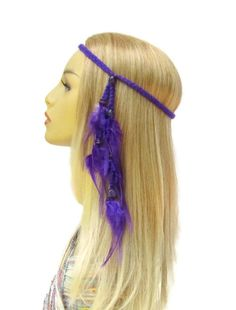 braided purple headband with purple feathers & wooden beads