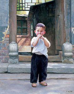 A Chinese boy -- by Bao Zhen (b.1960, Chinese)