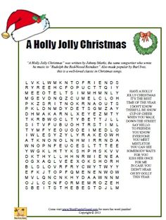 A Holly Jolly Christmas Word Search - Christmas printable puzzle - Hazel Christmas Puzzle, Christmas Words, Childrens Christmas, Christmas Crafts For Kids, Christmas Activities, Christmas Colors, Christmas Projects, Christmas Holidays, Christmas Ideas