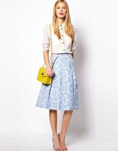 Midi Skirt In Blue Floral Jacquard