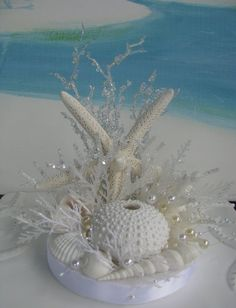 White Seashell Beach Wedding Cake Topper~Starfish~White Coral~~Sea Urchin~Coastal Beach Wedding Cake Topper