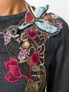 Antonio Marras платье с вышитыми цветами, бабочкой и птицей