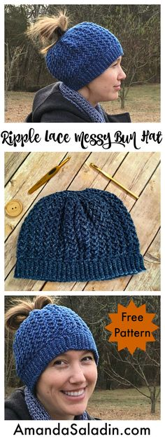 FREE pattern!! Use one skein of Lion Brand Jeans yarn to crochet the Ripple Lace Messy Bun Hat - an intermediate level crochet pattern.