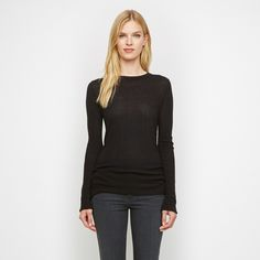 Cashmere Jersey Thermal Long Sleeve Tee - Black