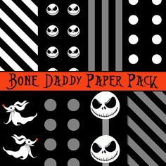 The Nightmare Before Christmas Bone Daddy Digital Paper Pack for Scrapbooking, Making Pendants, Hair bows, Stickers, Magnets, Jewelry and MORE