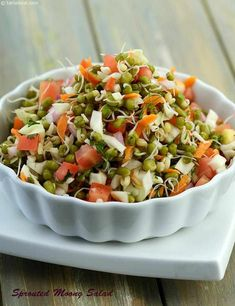Calories of Sprouted Moong Salad, Is Sprouted Moong Salad healthy? Healthy Indian Snacks, Healthy Salad Recipes, Indian Food Recipes, Vegetarian Recipes, Cooking Recipes, Side Recipes, Lunch Recipes, Cooking Tips, Salad Recipes By Tarla Dalal