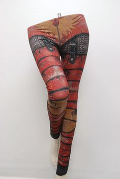 Armour Leggings Size XXL Red Printed Chainmail Tights by Mitmunk