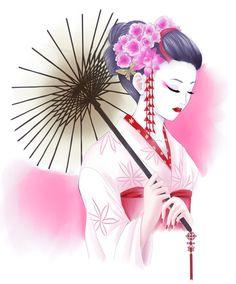 Commission: Geisha by Rurutia8.deviantart.com on @DeviantArt