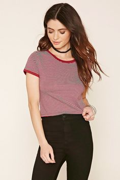 Style Deals - A knit ringer tee featuring short sleeves, a slightly cropped hem, contrast trim, and allover horizontal stripes.