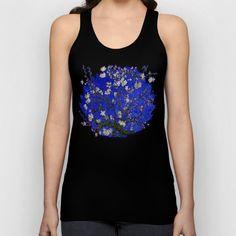 Van gogh Digital Abstract Daisy blue background Unisex Tank Top #UnisexTankTop #TankTop #tshirt #clothing  #abstract #vangogh #paintings #starrynight #starry #night #abstractpainting #pattern #popart #bluedaisy #blue