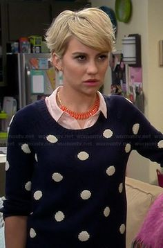 Riley�s navy polka dot sweater on Baby Daddy.  Outfit Details: http://wornontv.net/44850/ #BabyDaddy