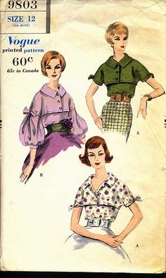 Vintage Vogue Sewing Pattern Tuck In Blouse Button Shirt Front Band Collar Long Balloon Puff Sleeves Lapped Front Bust 32 Dress Making Patterns, Vintage Dress Patterns, Clothing Patterns, Vintage Vogue, Vintage Fashion, Patron Vintage, Retro Mode, Retro Pattern, Vogue Patterns