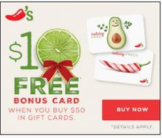 FREE $10 Chili's Gift Card w/Purchase of $50 or greater in Gift Cards on http://hunt4freebies.com/coupons
