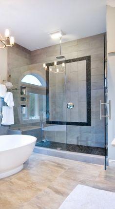 river rock shower floor, stone shower floor, natural stone bathroom
