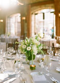 Ecru Cream and Green Table Decor | photography by http://www.msp-photography.com/