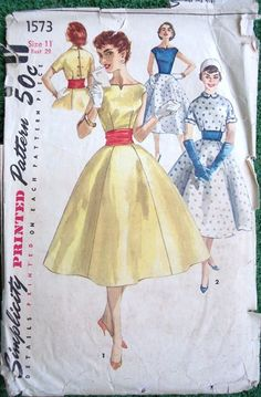 Simplicity 1573 1950s  Rockabilly Dress Pattern with Cummerbund and Jacket Womens Vintage Sewing Pattern  by patterngate.com
